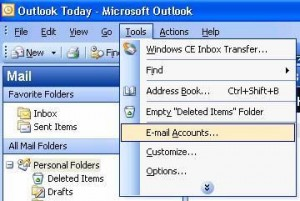 outlook2002 email account setup