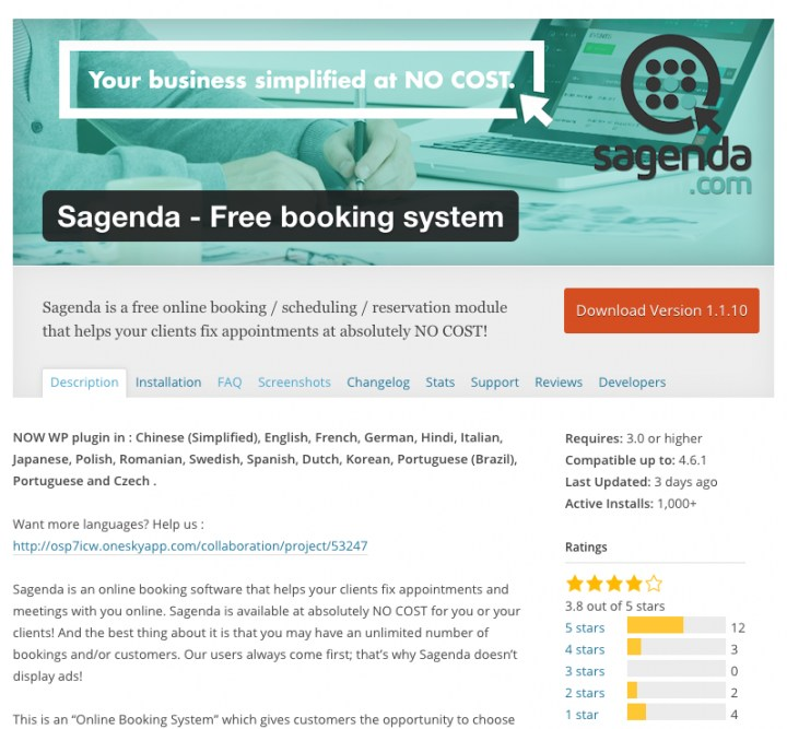 sagenda free booking system