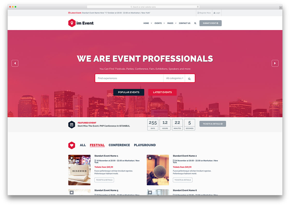 Conference event management websites and themes website An website