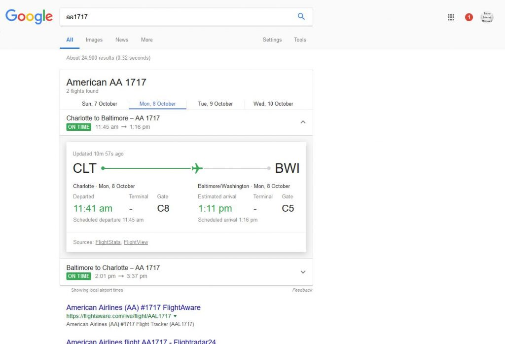 google search for flight times