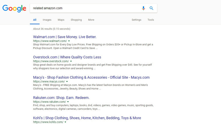 Search for related websites in google