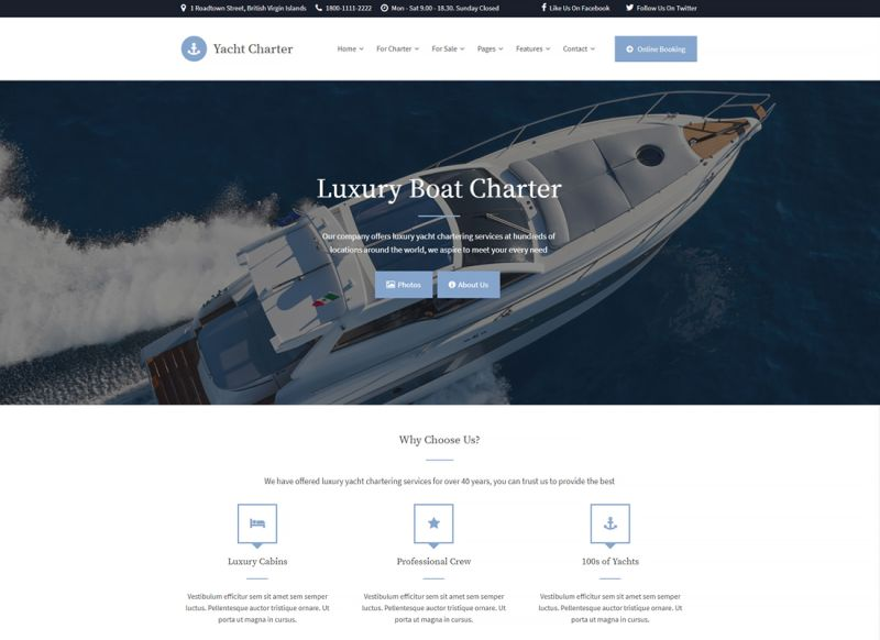 Yacht Charter | WordPress Theme