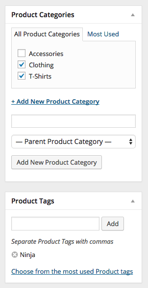 WooCommerce Product Category and Tags
