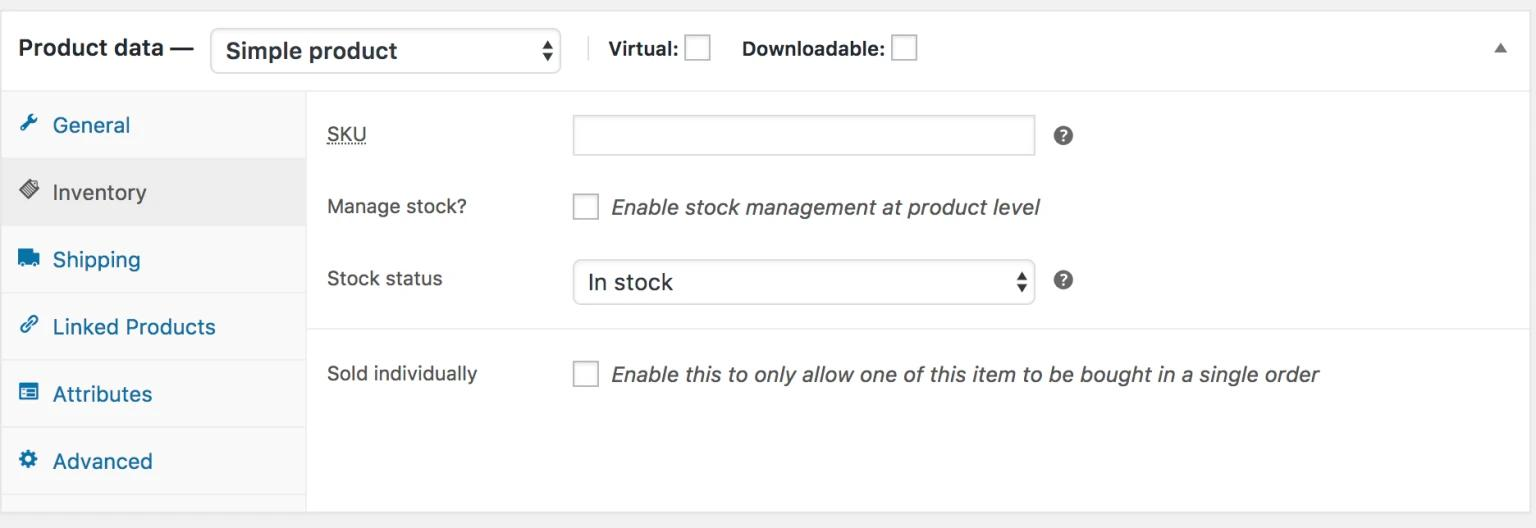 Disable WooCommerce Stock Management