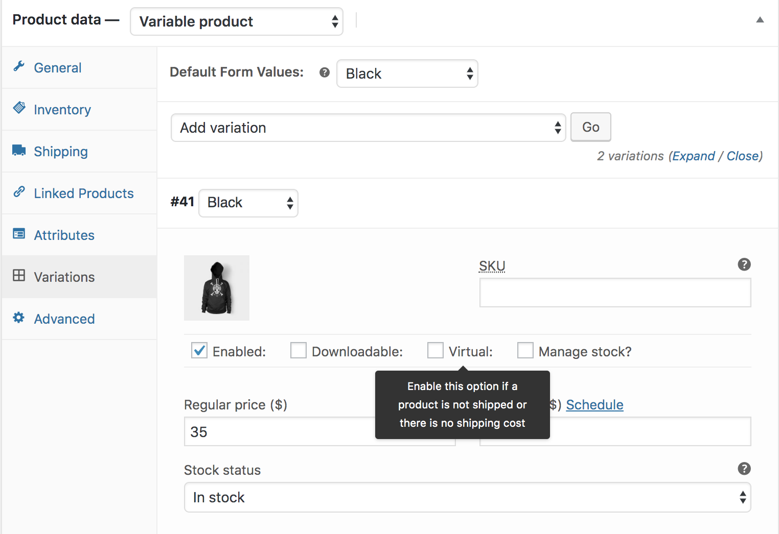 Variable Products in WooCommerce